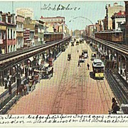 Bowery, New York. Vintage Postcard from 1906 to Austria.