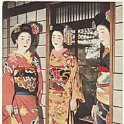 Japan, Geisha. Color vintage Postcard