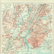 New York and surrounding Area. Lithographed Map, 1902