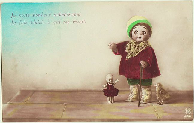 Cute, tinted Photo Postcard with Dolls and Chick.