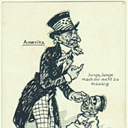 Scarce Propaganda Postcard from WWI Period, USA, Japan.