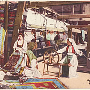 Old Turkey. Ladies weaving Carpets.
