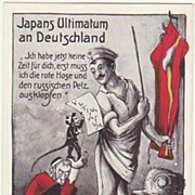 Mocking Postcard Japan Ultimatum to Germany 1914