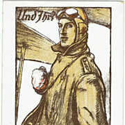War Bonds Advertising Postcard with Pilot. W.W.I.