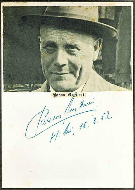 Paavo Nurmi Autograph