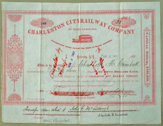 Charleston City Railway stock