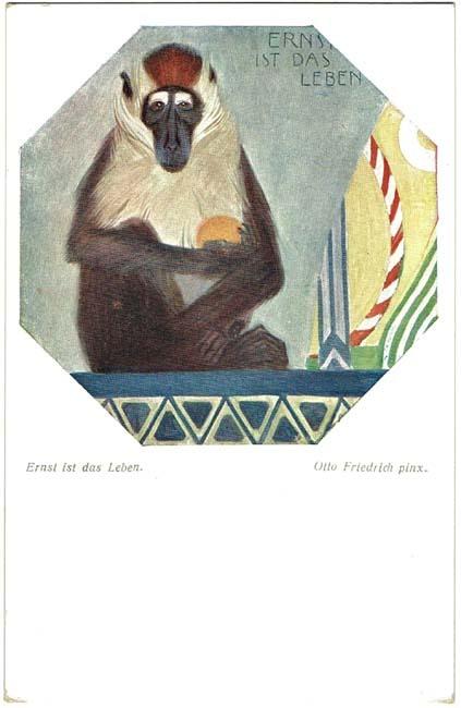 art deco postcard baboon
