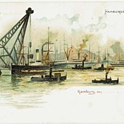 Ships at Hamburg Harbor. Lithographed Postcard. App. 1900