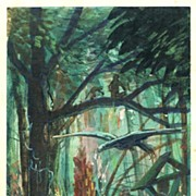Art Deco Gouache Jungle Scene 1917