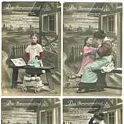 4 Vintage Xmas Postcards, Girl and Doll