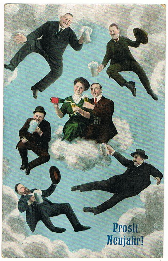 Funny New Years Postcard from 1916