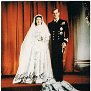 Queen Elizabeth Autograph. Hand signed Photo, co-signed Prince Philip. CoA