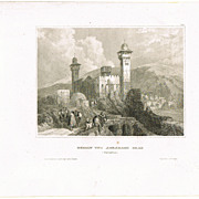 Hebron and Abraham�s Grave. Antique Etching