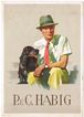 Advertising Postcard for Mens Hats. Man with Dog