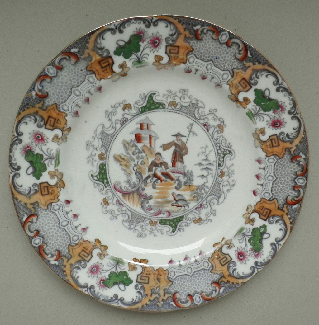 China plate with decorative design of shepherd and temple kaolin 19 from curioshop on ruby lane - Decoratieve platen ...