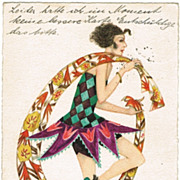 Mela Khler Art Deco Postcard Girl with Shawl