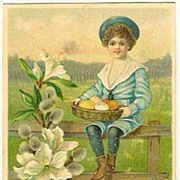 Happy Easter: Boy in Sailor�s Suite, Blossoms. Litho 1906