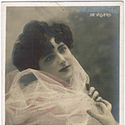 Tinted Photo Postcard with French Beauty