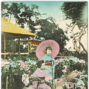 Tinted Japanese Postcard with 2 Ladies in Kimono