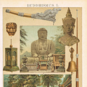 Buddhism: Antique Chromo Lithograph from 1898