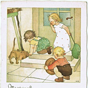 Sausage Dog and Kids chasing Mice. Vintage Postcard