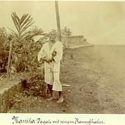 """Tagal Man with his Fighting Cock"". Fine Photo from Manila"