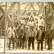 Workers on a Construction site. Old European Photo.