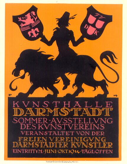 "1914: German lithographed ad for the ""Kunsthalle Darmstadt""."
