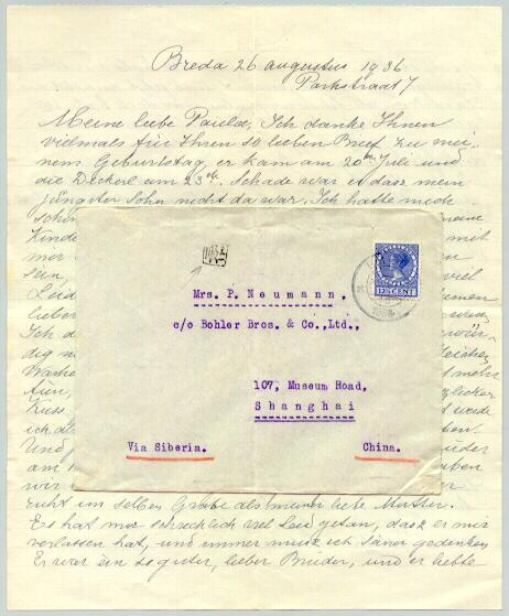 1936: Complete Letter from Holland to China.