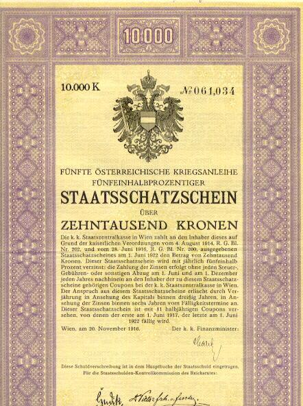 Austrian Art Deco War Bond by Rudolf Junk:  10.000 Crowns Treasury Bond