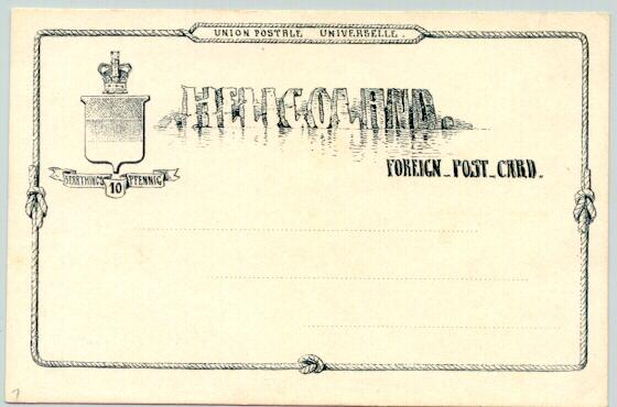 Heligoland – Helgoland: 10 Pfennig Foreign Post Card, mint
