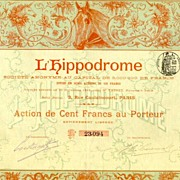 1898. France, Paris: L� Hippodrome. Antique Stock Certificate