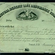 1867: The Mutual Benefit Life Insurance Company � Policy Certificate