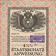 1914: Most decorative Austrian States Bond. Art Deco.