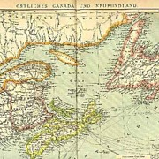 1907: Map of Eastern Canada and New Foundland. 12 x 10 inches.