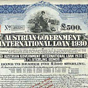 REDUCED 1930: Austrian Government International Loan 1930, scarce 500 Pounds