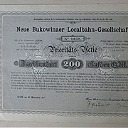 REDUCED 1897, Imperial Austria: Bukowinaer Local Railway Certificate: Priority Share