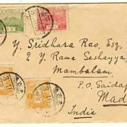1928: Japan � India. Cover with 4 Stamps