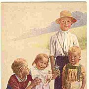 Lovely old Postcard: Kids with little Doll