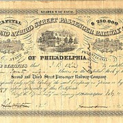 Second & Third Street Passenger Railway Co. Share from 1859