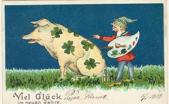 Art Nouveau New Year Postcard with Pig and Painter.