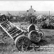 1915: W.W.I.: A German Convoy after an Attack. Vintage Photo.