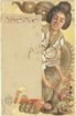 Art Nouveau Postcard: Iris Series with Geisha Motif. Lithographed