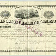 Old Colony Railroad Company. Antique Stock Certificate,