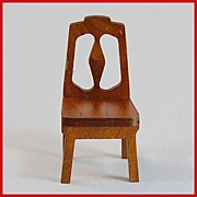 "Strombecker Dollhouse Dining Room Chair - Walnut 1938 1"" Scale"