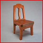 "Strombecker Dollhouse Dining Room Chair - Walnut 1953 1"" Scale"