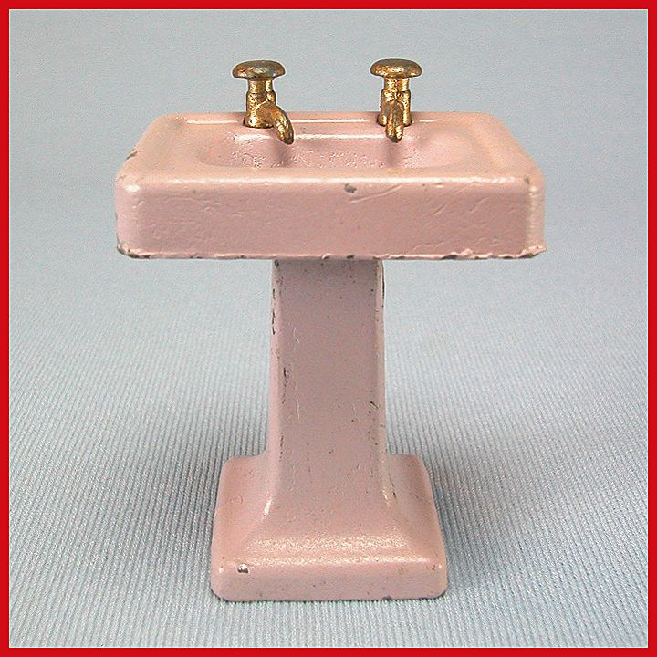 Tootsie Toy Dollhouse Pedestal Sink Lavender 1920s 1 2 Scale From Cur