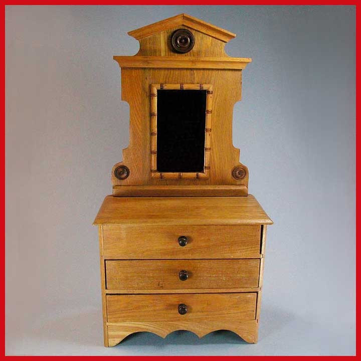 26 1/2&quot; Tall Antique Oak Faux Bamboo Dresser &ndash; Doll Size