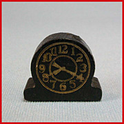 "Strombecker Dollhouse Modern Table Clock � Black 1938 3/4"" Scale"