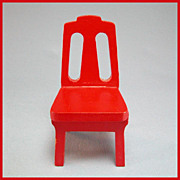 Strombecker Dollhouse Kitchen Chair - Red 1953 1&quot; Scale